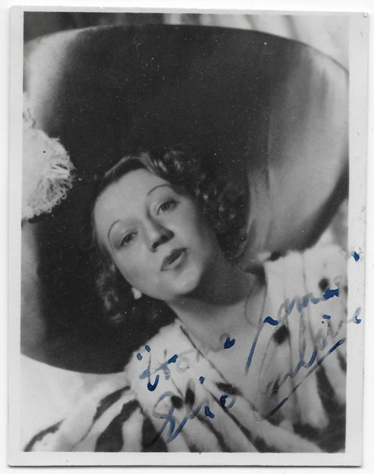 "A photograph of Elsie Carlisle, signed ""Home, James - Elsie Carlisle"""