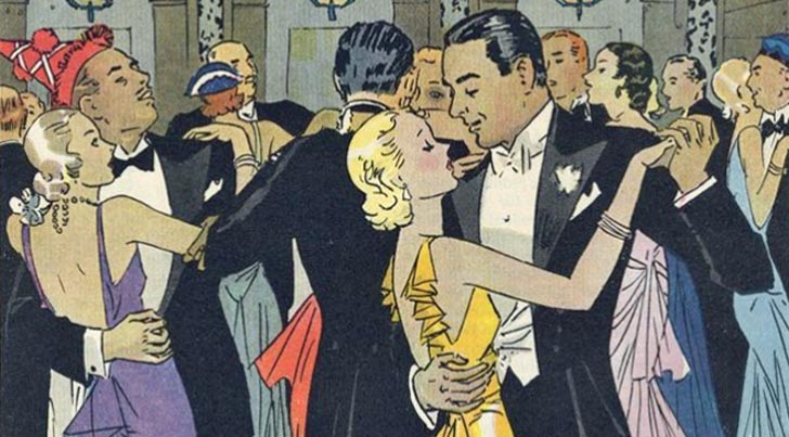 """Just One More."" Depiction of New Year's Party in the early 1930s."