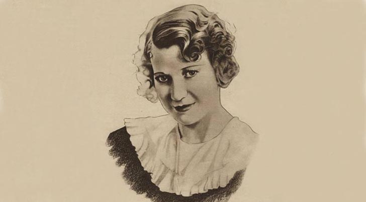Radio Pictorial sketch of Elsie Carlisle by Walter Scott