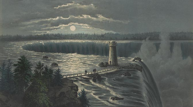 """Moonlight on the Waterfall"" featured image. Detail from Currier and Ives lithograph."